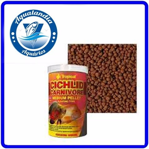 Ração Cichlid Carnivore Medium Pellet 180g Tropical