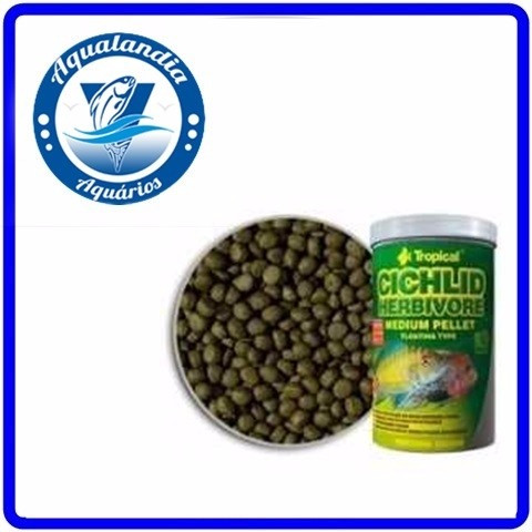 Ração Cichlid Herbivore Medium Pellet 180g Tropical