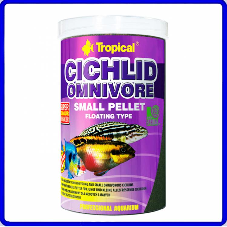 Tropical Ração Cichlid Omnivore Small Pellet 90g