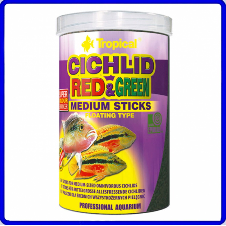 Tropical Ração Cichlid Red & Green Medium Stick 360g