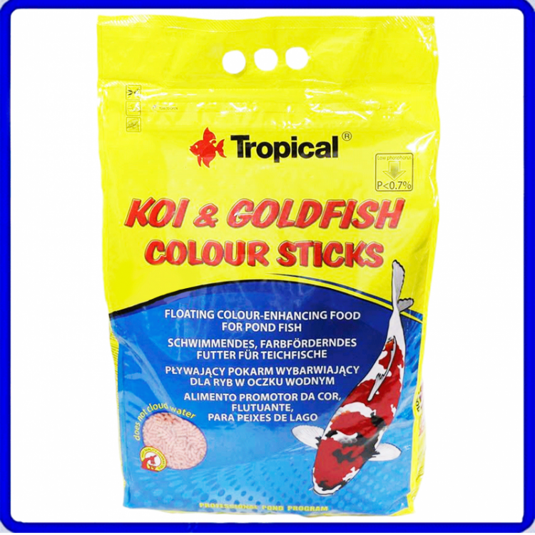 Tropical Ração Koi & Goldfish Colour Sticks 800g